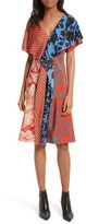 Diane von Furstenberg Women's Mix Print Silk Ruffle Dress