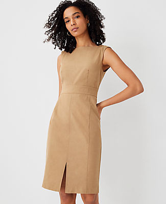 Ann Taylor The Petite Topstitched Front Slit Sheath Dress