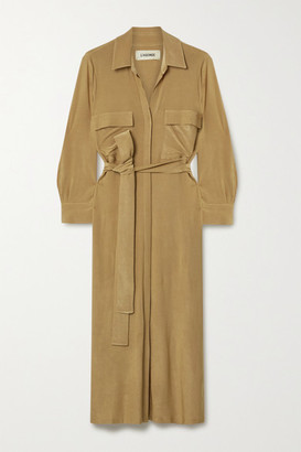 L'Agence Rivi Belted Slub Stretch-jersey Midi Shirt Dress - Sand