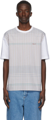 Lanvin White and Brown Checkered T-Shirt