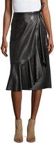 Helmut Lang Leather Ruffle A-Line Midi Skirt, Black