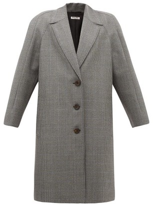 Miu Miu Houndstooth Virgin Wool Single-breasted Coat - Grey