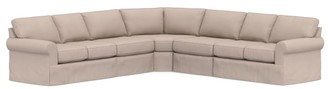 Pottery Barn Buchanan Roll Arm Slipcovered 5-Piece Sectional with Wedge