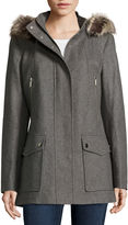 A.N.A a.n.a Faux-Fur Trim Casual Zip Wool-Blend Coat