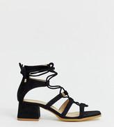 Raid Wide Fit RAID Wide Fit Gekko square toe black tie up gladiator sandals