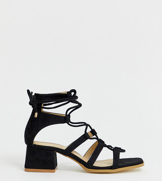 Raid Wide Fit RAID Wide Fit Gekko square toe black tie up gladiator sandals