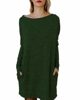 KIDSFORM Women Oversized Dress Long Sleeve Tunic Dress Plus Size Shirt Dress Baggy Pockets Short Jumper Dresses Z-Green UK 18