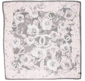 Chanel Camellia CC Silk Scarf
