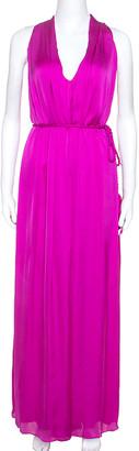 Ch Carolina Herrera Carolina Herrera Magenta Silk Keyhole Back Detail Sleeveless Dress L
