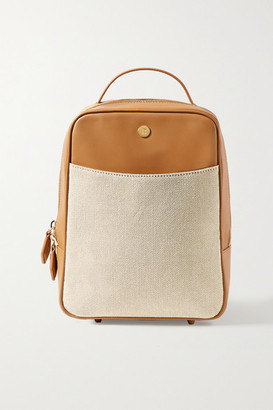Paravel Mini City Leather And Cotton-canvas Backpack - Tan