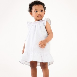 The White Company Smocked Block-Print Dress, White, 0-3mths