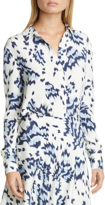 St. John Painted Butterfly Print Crepe de Chine Shirt
