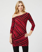 Le Château Abstract Print Crepe One Shoulder Tunic Top