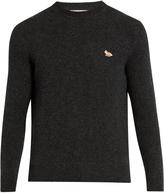 MAISON KITSUNÉ Fox-appliqué crew-neck wool sweater