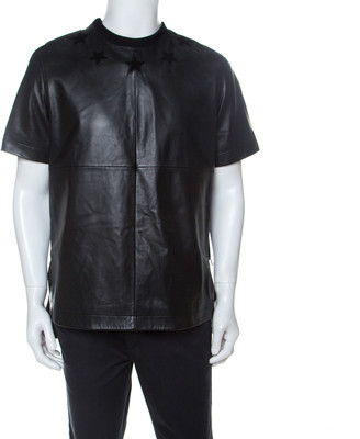 Givenchy Black Star Embroidered Leather Crew Neck T-Shirt M