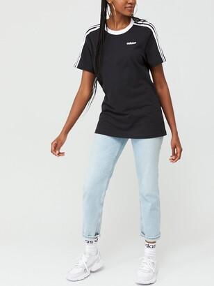 adidas Essentials 3 Stripe Boyfriend Tee - Black