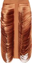 Dion Lee Fringed silk satin-paneled silk-crepe skirt