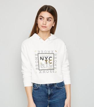 New Look Girls NYC Slogan Cropped Hoodie