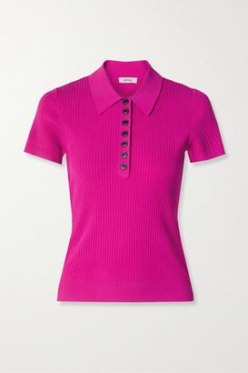 Jason Wu Ribbed-knit Polo Shirt - Magenta