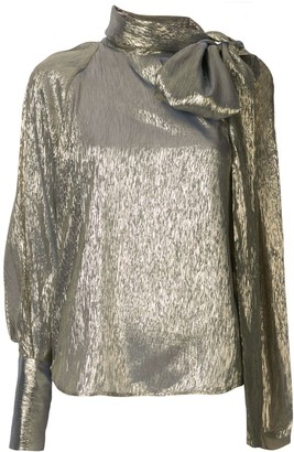 Petar Petrov Bray metallic one sleeve blouse