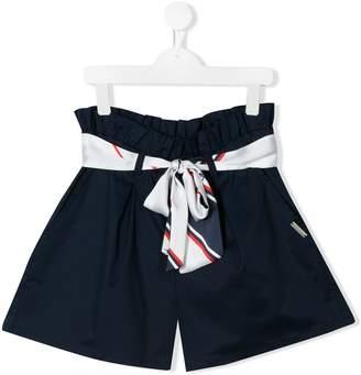 MSGM Kids TEEN high-waisted ribbon tie shorts