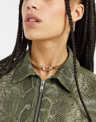 Topshop chunky chain choker necklace with clip fastening in gold