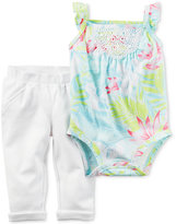 Carter's 2-Pc. Cotton Floral-Print Lace Bodysuit & Pants Set, Baby Girls (0-24 months)