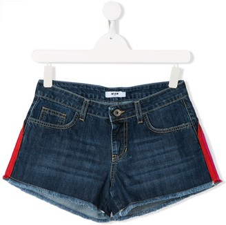 Msgm Kids TEEN logo stripe denim shorts