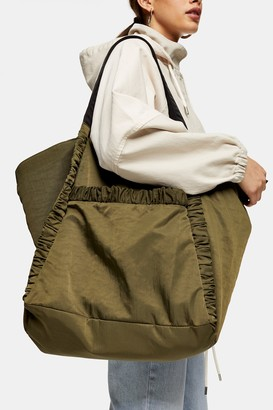 Topshop Khaki Ruched Stripe Nylon Tote Bag