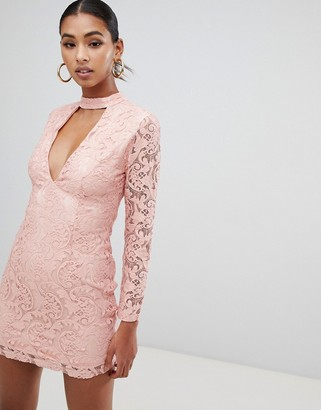 In The Style lace plunge long sleeve dress-Pink
