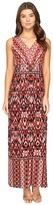 London Times Ikat Chain V-Neck Maxi Dress