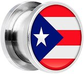 """Body Candy Stainless Steel Puerto Rico Flag Screw Fit Double Flare Plug Pair 5/8"""""""