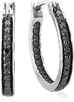 DazzlingRock Collection 0.38 Carat (ctw) Sterling Silver Round Diamond Fine In and Out Huggie Hoop Earrings 3/8 CT