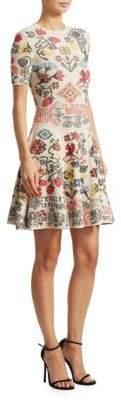 Alexander McQueen Vlm Paneled Fit-&-Flare Dress