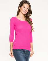 Le Château Textured Cotton Scoop Neck Sweater