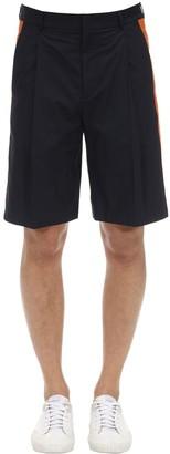 Valentino Cotton Bermuda Shorts W/Side Bands