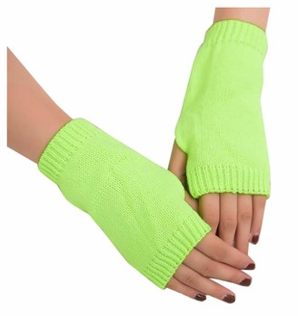 jieGorge Women Girl Knitted Arm Fingerless Keep Warm Winter Gloves Soft Warm Mitten Mint Green