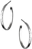 Sharon Saindon Small Narrow Shiny Hammered Hoop Earrings