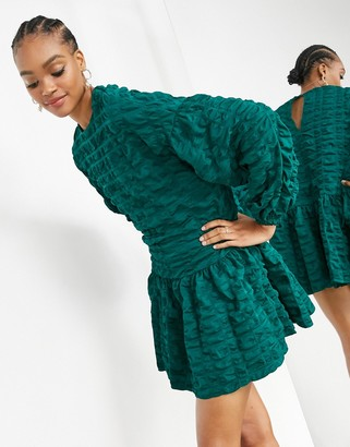 ASOS EDITION textured check mini dress with tiered hem in forest green