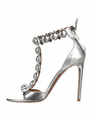 Alaia Leather T-Strap Sandals Silver