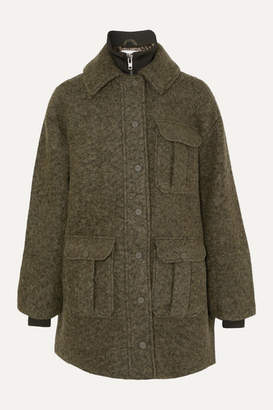 Ganni Ribbed Jersey-trimmed Wool-blend Bouclé Jacket - Army green
