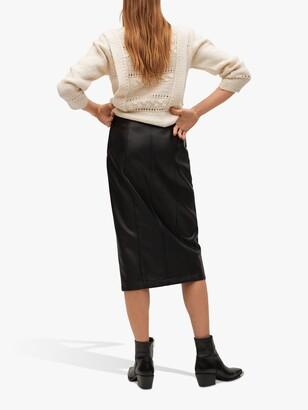 MANGO Faux Leather Pencil Midi Skirt, Black