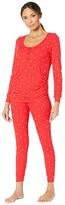 Plush Ribbed Heart Under-Belly Maternity Pajama Set (Red/White) Women's Pajama Sets