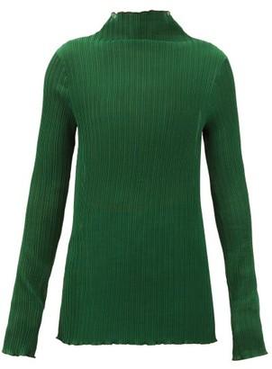 Jil Sander Mock-neck Pleated Jersey Top - Green