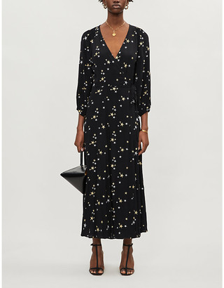 Ghost Emilie star-embroidered crepe maxi dress