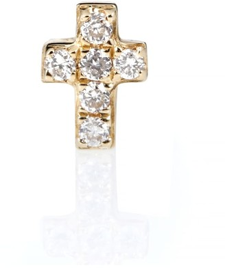 Sydney Evan Tiny Cross 14kt gold and diamonds earring