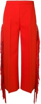 MSGM Fringed High-Waisted Trousers