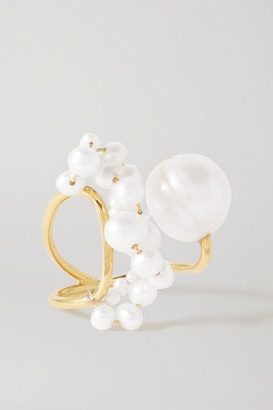 COMPLETEDWORKS Speaking To The Penguins Gold Vermeil Pearl Ring - White