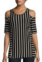 Cable & Gauge Striped Cold-Shoulder Top