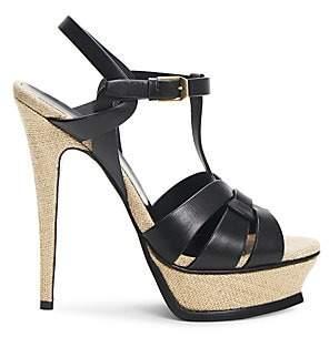 Saint Laurent Women's Tribute 105MM Woven Leather Platform Sandals